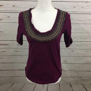 Deletta Burgundy Beaded Collar Shirt XS